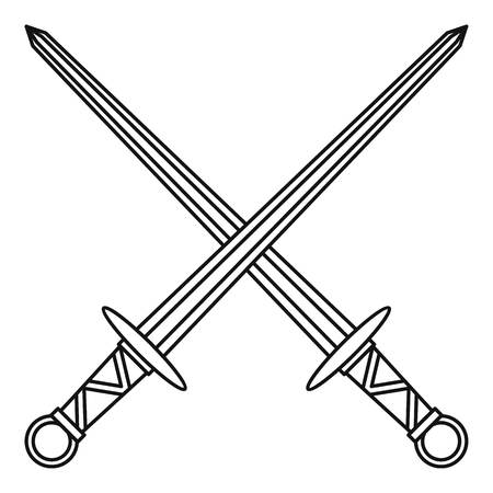 Medieval swords icon, outline style Stock Photo