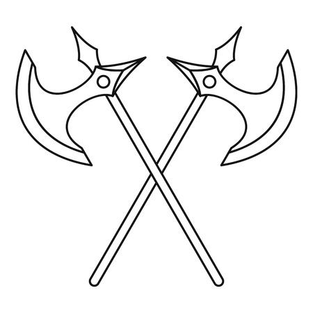 Crossed battle axes icon, outline style