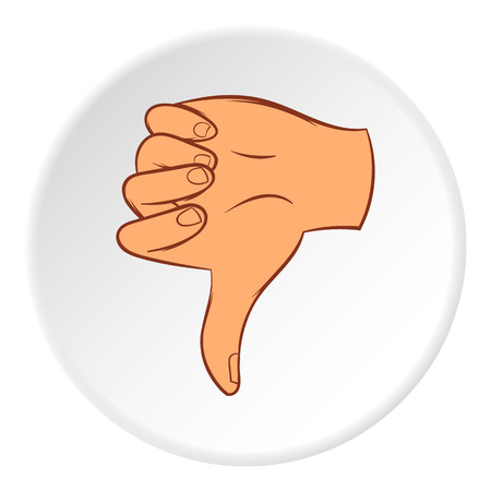 Gesture thumbs down icon, cartoon style