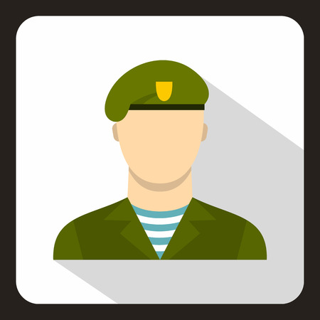 Modern army soldier icon, flat style Stock Photo