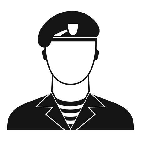 Modern army soldier icon, simple style Stock Photo