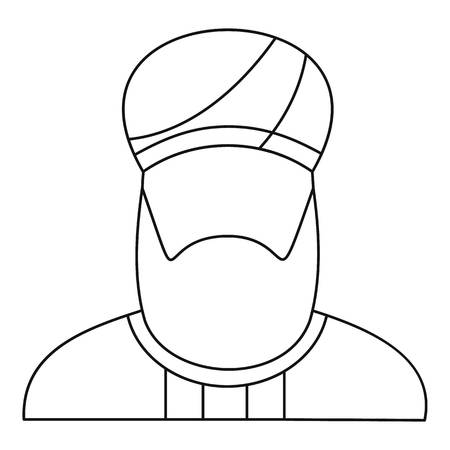 Arabian man in a turban icon, outline style 스톡 콘텐츠