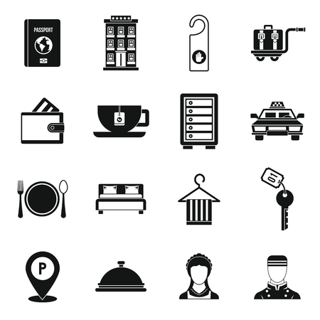 Hotel icons set in simple style. 版權商用圖片