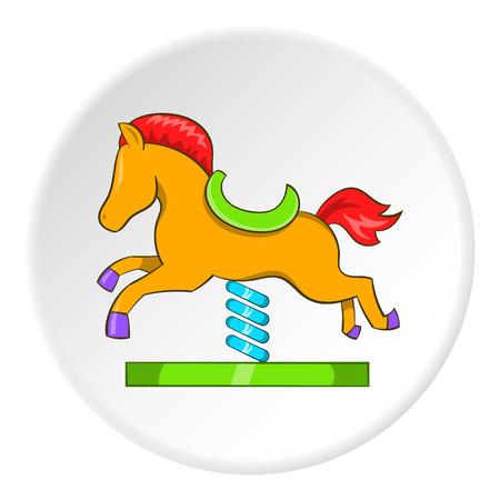 Horse rocking icon, cartoon style