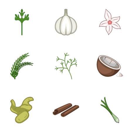 Garlic icons set. Cartoon set of 9 garlic vector icons for web isolated on white background Ilustração