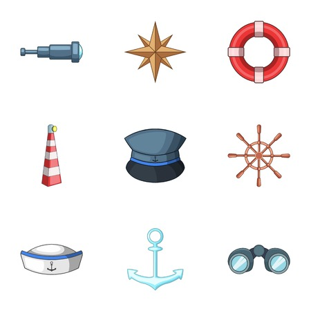 Sea walk icons set. Cartoon set of 9 sea walk vector icons for web isolated on white background