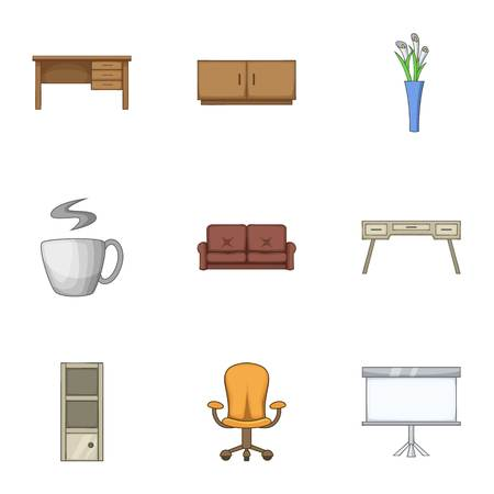 Home stool icons set. Cartoon set of 9 home stool vector icons for web isolated on white background