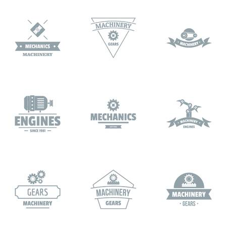 Gearing logo set. Simple set of 9 gearing vector logo for web isolated on white background