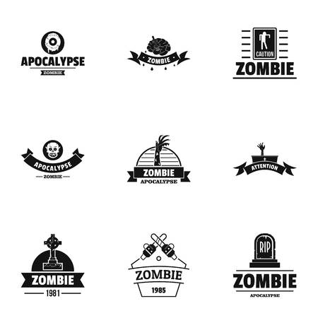 Zombie way logo set. Simple set of 9 zombie way vector logo for web isolated on white background Фото со стока - 106655655