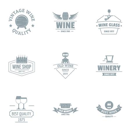 Vine quality logo set. Simple set of 9 vine quality vector logo for web isolated on white background