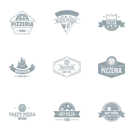Tasty pizza logo set. Simple set of 9 tasty pizza vector logo for web isolated on white background