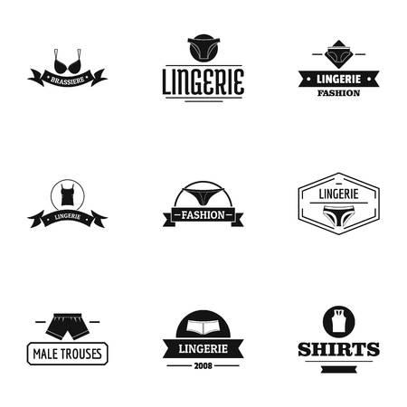 Chemise logo set. Simple set of 9 chemise vector logo for web isolated on white background