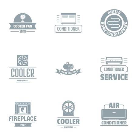 Coolant logo set. Simple set of 9 coolant vector logo for web isolated on white background