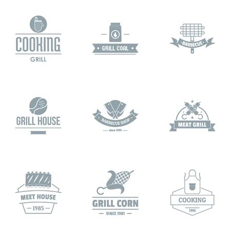 Meal house logo set. Simple set of 9 meal house vector logo for web isolated on white background Иллюстрация