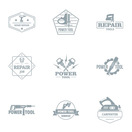 Repair job logo set. Simple set of 9 repair job vector logo for web isolated on white background