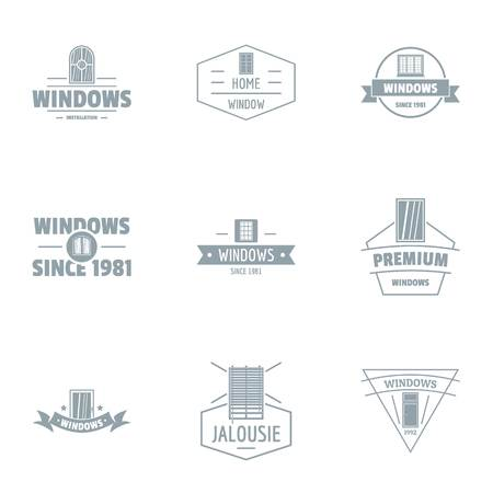Window protection logo set. Simple set of 9 window protection vector logo for web isolated on white background 写真素材 - 106655832