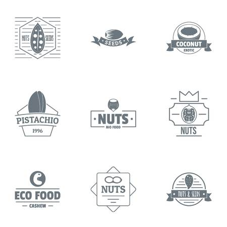 Eco food logo set. Simple set of 9 eco food vector logo for web isolated on white background