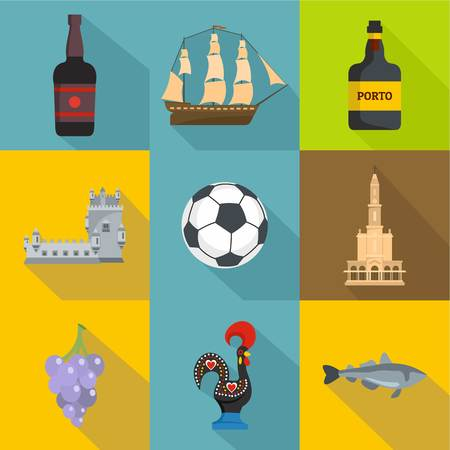 Port life icons set. Flat set of 9 port life vector icons for web isolated on white background