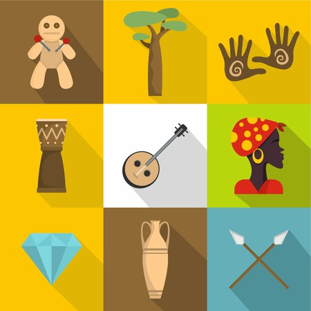 Africa land icons set. Flat set of 9 africa land vector icons for web isolated on white background