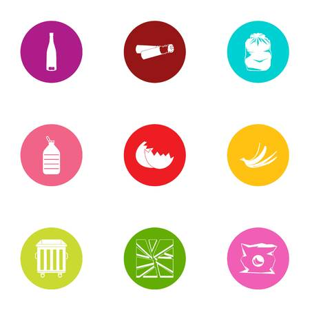 Residue icons set. Flat set of 9 residue vector icons for web isolated on white background