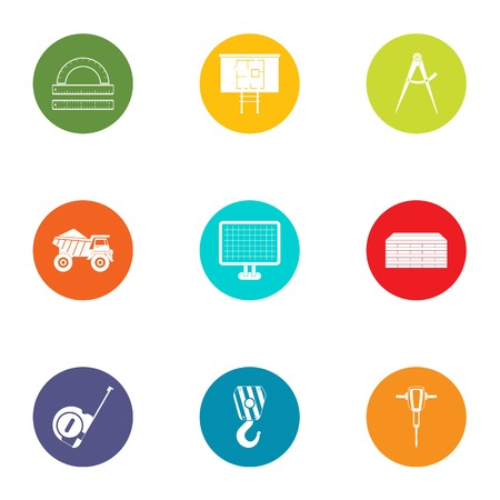 Subject icons set. Flat set of 9 subject vector icons for web isolated on white background