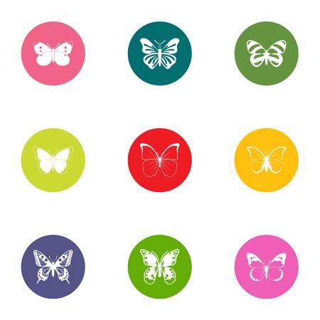 Bat icons set. Flat set of 9 bat vector icons for web isolated on white background Illustration