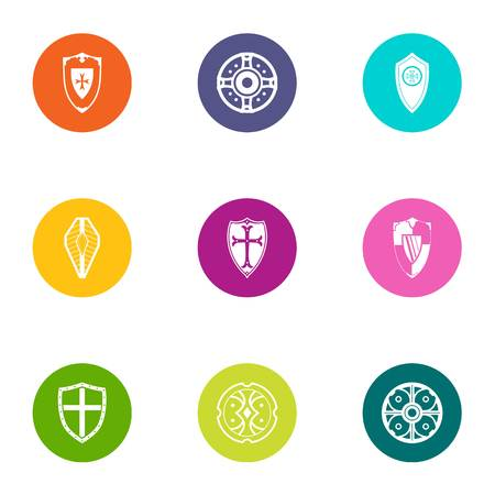 Protection icons set. Flat set of 9 protection vector icons for web isolated on white background Çizim