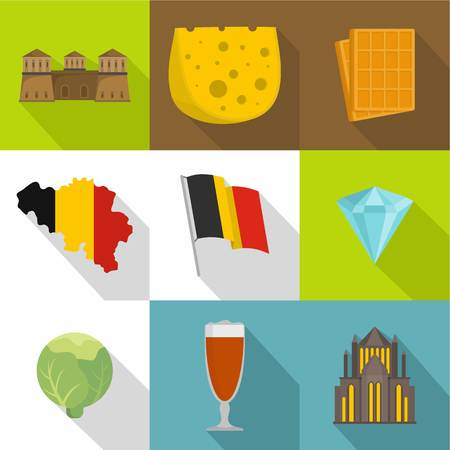 German border icons set. Flat set of 9 german border vector icons for web isolated on white background Çizim