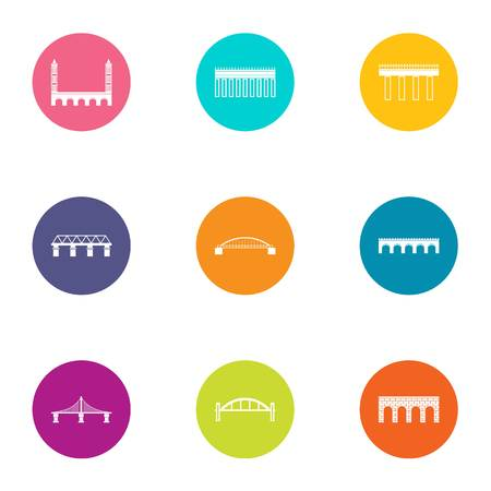 Axle icons set. Flat set of 9 axle vector icons for web isolated on white background Illusztráció