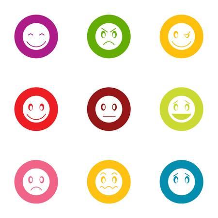 Facecheck-Symbole gesetzt. Flacher Satz von 9 Facecheck-Vektorikonen für das Netz lokalisiert auf weißem Hintergrund