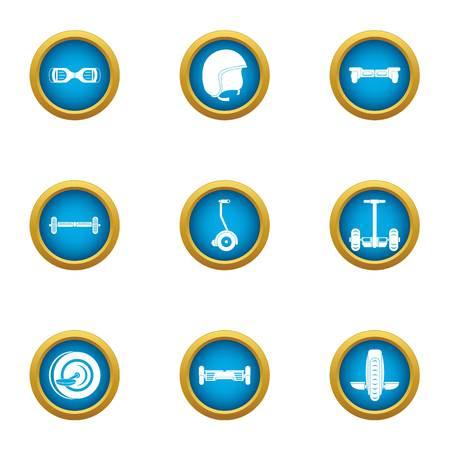 Two wheeled transport icons set. Flat set of 9 two wheeled transport vector icons for web isolated on white background