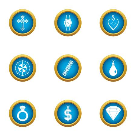 Precious offering icons set. Flat set of 9 precious offering vector icons for web isolated on white background