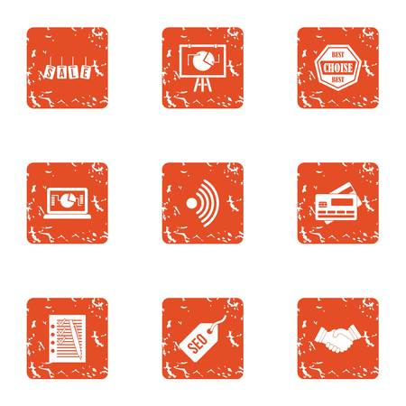 Seo sale icons set. Grunge set of 9 seo sale vector icons for web isolated on white background