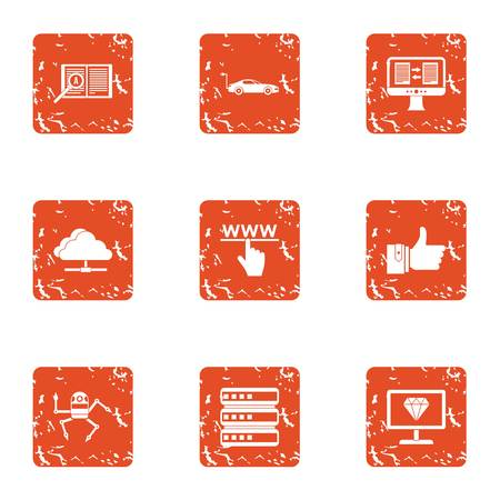 Cloudlet icons set. Grunge set of 9 cloudlet vector icons for web isolated on white background