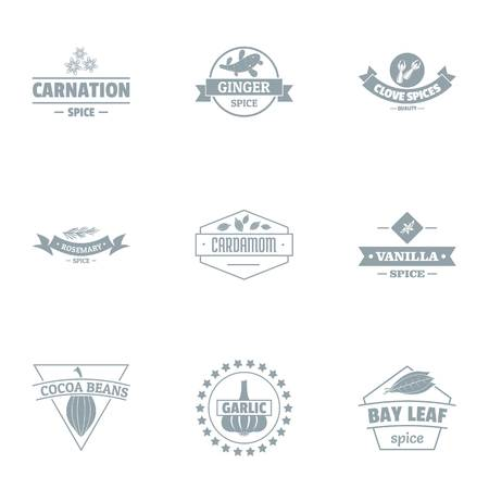 Cacao beans logo set. Simple set of 9 cacao beans vector logo for web isolated on white background Illustration