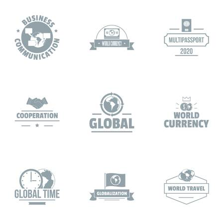Global time logo set. Simple set of 9 global time vector logo for web isolated on white background Foto de archivo - 106655862