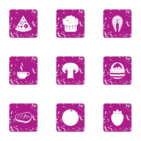 Meat patty icons set. Grunge set of 9 meat patty vector icons for web isolated on white background