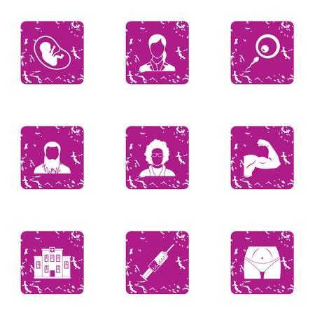 Exercise icons set. Grunge set of 9 exercise vector icons for web isolated on white background