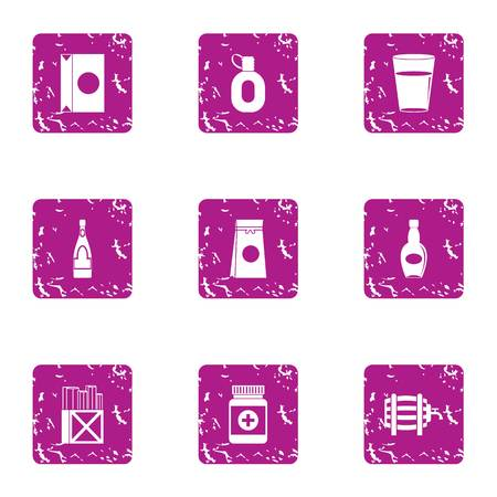 Pour tube icons set. Grunge set of 9 pour tube vector icons for web isolated on white background