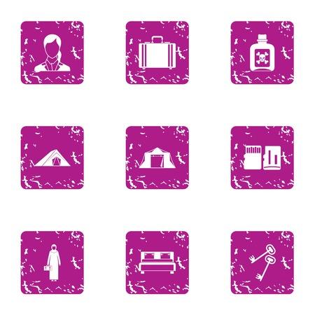 Poisoned land icons set. Grunge set of 9 poisoned land vector icons for web isolated on white background