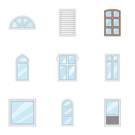 Windowed mode icons set. Cartoon set of 9 windowed mode vector icons for web isolated on white background