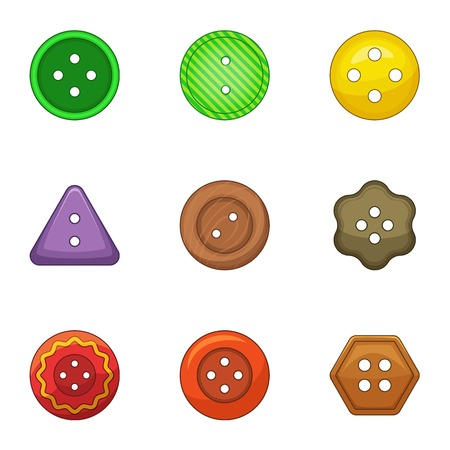 Pushpin icons set. Cartoon set of 9 pushpin vector icons for web isolated on white background