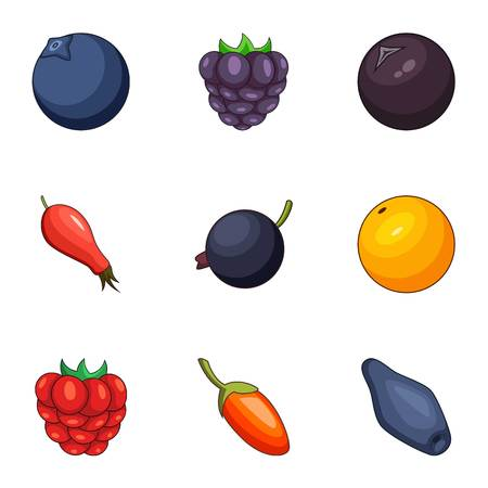 Forest berry icons set. Cartoon set of 9 forest berry vector icons for web isolated on white background Illustration