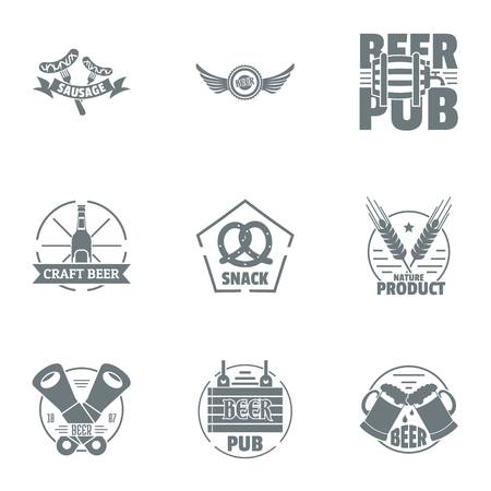 Craft beer logo set. Simple set of 9 craft beer vector logo for web isolated on white background