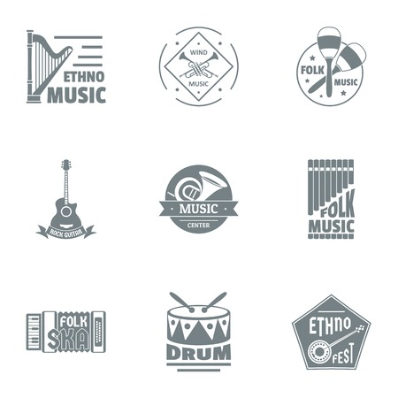 Drum music logo set. Simple set of 9 drum music vector logo for web isolated on white background Banque d'images - 106655905