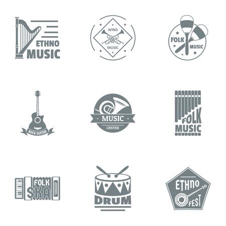 Drum music logo set. Simple set of 9 drum music vector logo for web isolated on white background Illustration