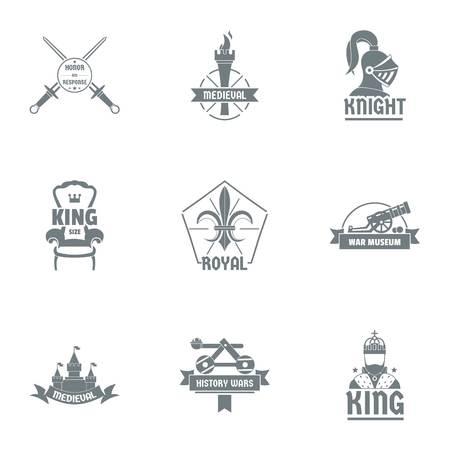 King luxury logo set. Simple set of 9 king luxury vector logo for web isolated on white background