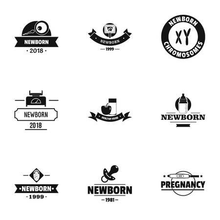 Neonatal logo set. Simple set of 9 neonatal vector logo for web isolated on white background Illustration