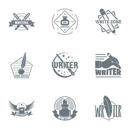 Scriptwriter logo set. Simple set of 9 scriptwriter vector logo for web isolated on white background
