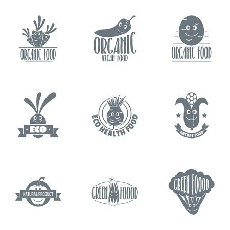 Agroecological logo set. Simple set of 9 agroecological vector logo for web isolated on white background